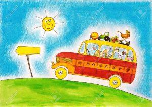 18459578-Viaggio-in-autobus-scuola-disegno-bambino-s-pittura-ad-acquarello-su-carta-Archivio-Fotografico